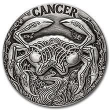 1 oz Silver Round Cancer - Zodiac Series #74599v3