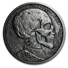 5 oz Silver Antique Round Hobo Nickel Replica (Skulls & Scrolls) #74550v3