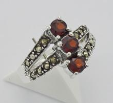 Antique Style Garnet Marcasite Ring - Sterling Silver #97937v2