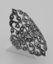 Marcasite Ring - Filigree Design - Sterling Silver #97827v2