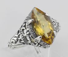 Citrine Filigree Ring - Sterling Silver #97757v2