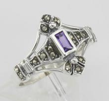 Antique Style Genuine Amethyst and Marcasite Ring - Sterling Silver #97798v2