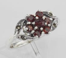 Antique Style Garnet - Marcasite Floral Design Ring - Sterling Silver #97936v2