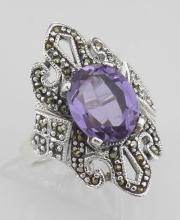 Large 2 1/2 Carat Genuine Amethyst and Marcasite Ring - Sterling Silver #97789v2