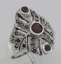 Unique Victorian Style 3 Garnet and Marcasite Ring - Sterling Silver #97929v2