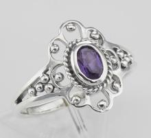 Antique Style Genuine Purple Amethyst Ring - Sterling Silver #97785v2