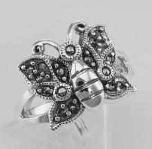 Antique Style Marcasite Butterfly Ring - Sterling Silver #97810v2