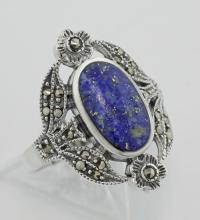 Victorian Style Lapis and Marcasite Floral Design Ring Sterling Silver #97825v2