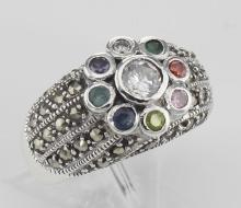 Beautiful Multi-Stone Marcasite Ring - Sterling Silver #97811v2