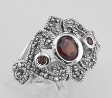 Antique Style Genuine Red Garnet and Marcasite Ring - Sterling Silver #97934v2