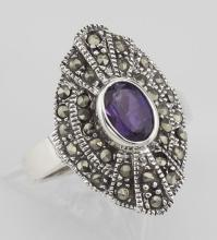 Stunning 1/2 Carat Genuine Amethyst and Marcasite Ring - Sterling Silver #97792v2