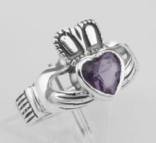 Irish Claddagh Ring with Amethyst CZ - Sterling Silver #97826v2