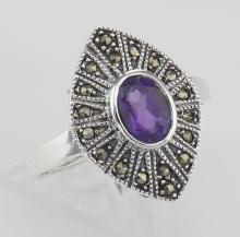Lovely 1/2 Carat Genuine Amethyst and Marcasite Ring - Sterling Silver #97797v2
