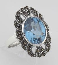 Stunning Large Blue Topaz Ring with Marcasites - Sterling Silver #97946v2