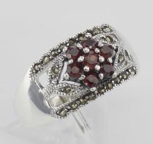 Floral Design Red Garnet Ring with Marcasite accents - Sterling Silver #97938v2
