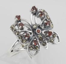 Genuine Red Garnet and Marcasite Butterfly Ring - Sterling Silver #97928v2