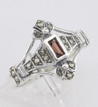 Antique Style Genuine Red Garnet and Marcasite Ring - Sterling Silver #97932v2