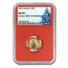 2016 1/10 oz Gold American Eagle MS-70 NGC (Christmas Label) #84735v3