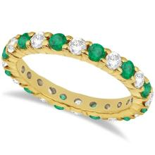 Eternity Diamond and Emerald Ring Band 14k Yellow Gold (2.35ct) #20529v3
