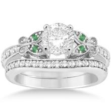 Butterfly Diamond and Emerald Bridal Set 14k White Gold (1.42ct) #21125v3