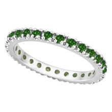 Emerald Eternity Stackable Ring Band 14K White Gold (0.75ct) #20471v3