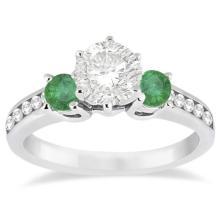Three-Stone Emerald and Diamond Engagement Ring 14k White Gold (1.15ct) #20944v3