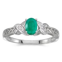 Certified 10k White Gold Oval Emerald And Diamond Ring 0.32 CTW #50964v3