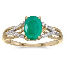 Certified 14k Yellow Gold Oval Emerald And Diamond Ring 0.92 CTW #51455v3