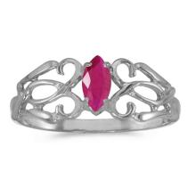 Certified 10k White Gold Marquise Ruby Filagree Ring 0.21 CTW #50673v3