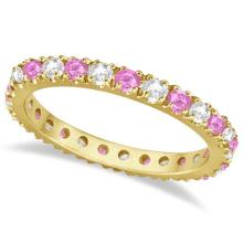 Diamond and Pink Sapphire Eternity Ring Stackable 14k Yellow Gold (0.63ct) #21115v3