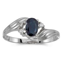 Certified 14k White Gold Oval Sapphire And Diamond Ring 0.42 CTW #51506v3