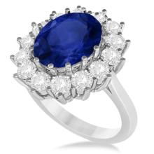 Oval Blue Sapphire and Diamond Accented Ring 14k White Gold (5.40ctw) #20470v3