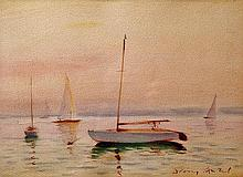 Antal Diósy (Hungarian, 1895-1977), Sailboats on the Balaton