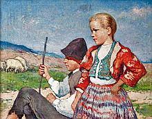 Oszkár Glatz (Hungarian, 1872-1958), The little shepherds