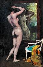 Miklós Mihalovics (Hungarian, 1888-1960), Girl in front of a mirror