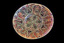 Zsolnay metallic eosin glaze stoneware wall plate with