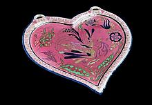 Zsolnay heart shape stoneware wall plaque with birds-of-paradise decoration
