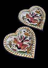 Pair of Zsolnay heart shape stoneware wall plaques with birds-of-paradise decoration
