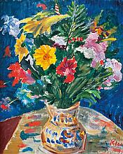 Zoltán Klie (Hungarian, Hungarian, 1897-1992), Still life with red flowers