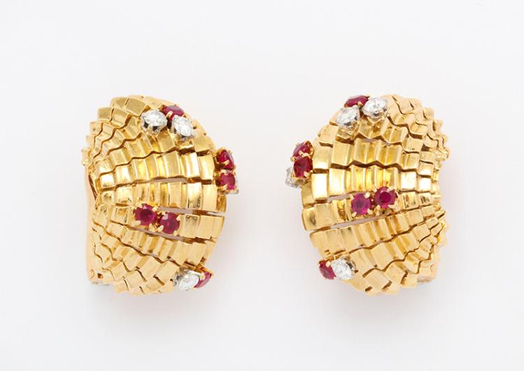 La Cloche Ruby and Diamond Earrings