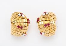 La Cloche Ruby and Diamond Earrings