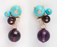 Cartier Turquoise & Amethyst Earrings