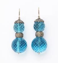 Auquamarine and Diamond Earrings