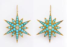 19th Century Turquoise & Diamond Star Earrings