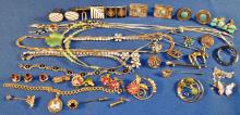 Collection of gold filled, sterling silver, rhinestone and costume jewelry including Victoria Flemming,