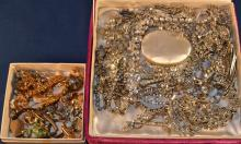 Collection of rhinestone, gold filled, sterling silver costume jewelry