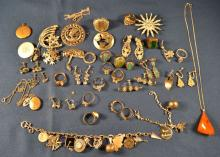 Collection of sterling silver, rhinestone and costume jewelry