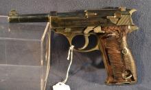 Ca. 1940 Waffenfabrik Walther, Zella-Mehlis model HP 9mm semi-auto pistol, Nazi eagle over 359 Waffenamt mark, grooved plastic grips, s#13489