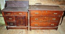 Victorian walnut marble top three drawer dresser and wash stand, damage to marble