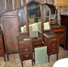 Art Deco BR furniture: vanity with stool, dresser with mirror, wardrobe